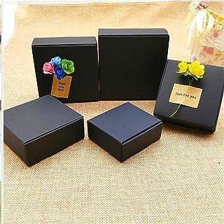 50 stks zwart karton Kraft papier snoep doos, kleine zwarte kartonnen papier verpakking, Craft Gift handgemaakte zeep verp...