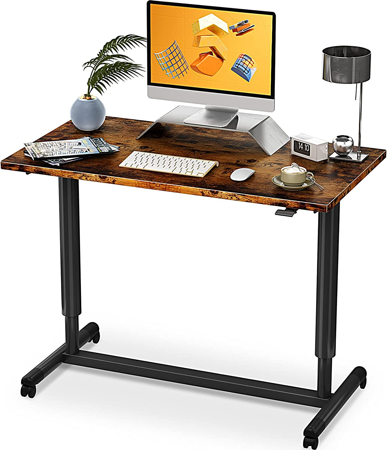 """ODK 40"""" x 24"""" Pneumatic Height Adjustable Mobile Standing Desk $149.99 Coupon"""