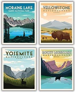 National Parks Vintage Posters & Prints | Mountain Wall Art Decor Poster | Nature Mountain Art Decor | Moraine Lake Banff ...