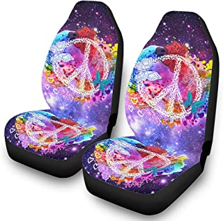 Peace and Love Car Seat Cover Washable Full Seat Two Pieces Seat Accessories for Cars Vehicle Carseat Canopy White9 One Size