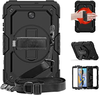 STLDM Galaxy Tab A 8.0 Case 2018,Full Body Heavy Duty Cover Case with Built-in Screen Protector,Rotating Stand,Hand Strap and Shoulder Strap for Samsung Galaxy Tab A 8.0 SM-T387 Black