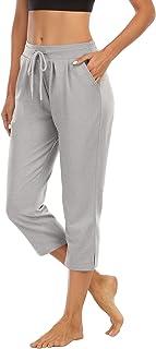 THANTH Womens Yoga Capri Pants Loose Wide Leg Comfy Lounge Pajama Capris Drawstring Workout Jersey Pants with Pockets