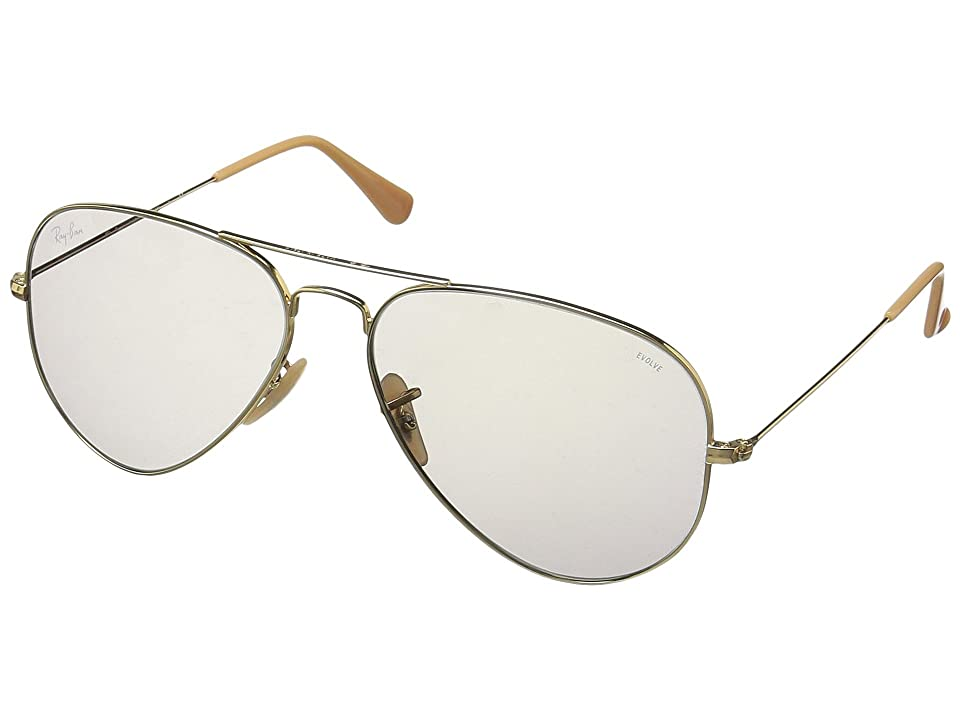 Ray-Ban 0RB3025 Evolve Aviator 58mm (Gold/Grey) Fashion Sunglasses