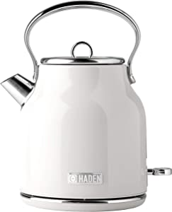 Haden HERITAGE 1.7 Liter Stainless Steel Retro Electric Kettle with Auto Shut-Off and Boil Dry Protection in Ivory White