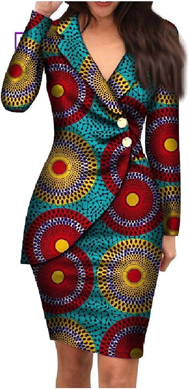 Tryist Women's Basic Cotton Blazer Premium Slim Fit African Wax Fabric Dress