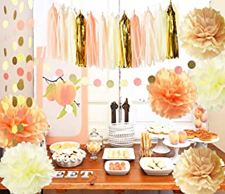 Rustic/Vintage Baby Shower Decorations Birthday Decor Sweet as a Peach Baby Shower Decor Cream Peach Champagne Tissue Paper Pom Pom Girl Bridal Shower Decorations/Autumn Fall Party Decorations