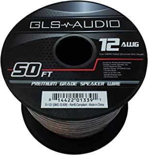 GLS Audio Premium 12 Gauge 50 Feet Speaker Wire - True 12AWG Speaker Cable 50ft Clear Jacket - High Quality 50' Spool Roll...