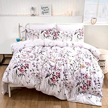 Floral Duvet Cover Set Queen Reversible Pink Botanical Green Leaves Pattern Printed Bedding Duvet Cover with Zipper Closure Ties, 3 Pieces (1 Duvet Cover + 2 Pillowcases), Ultra Soft Microfiber