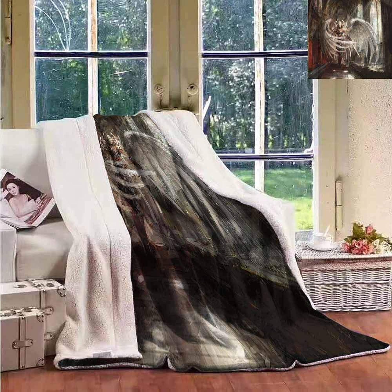 Sunnyhome Outdoor Blanket Fantasy Cyborg Angel Girl Warrior Washable Shaggy Fleece Blanket W59x31L