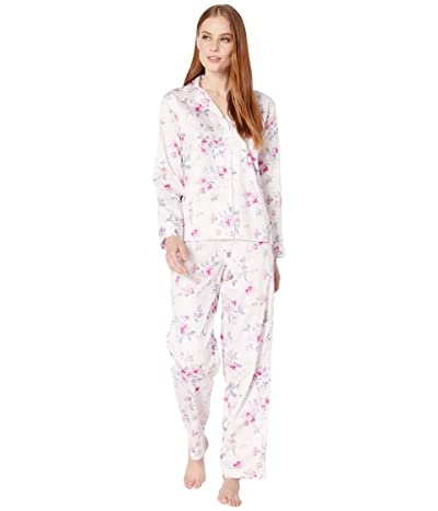 LAUREN Ralph Lauren Sateen Woven Long Sleeve Pointed Notch Collar Long Pants PJ Set (Pink Floral) Women