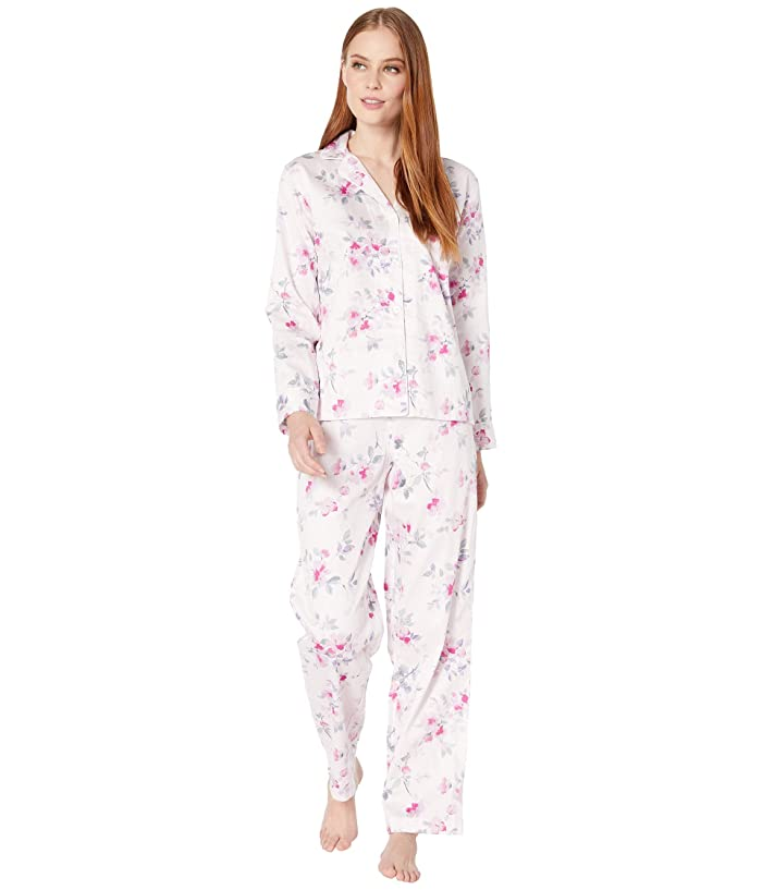 LAUREN Ralph Lauren  Sateen Woven Long Sleeve Pointed Notch Collar Long Pants PJ Set (Pink Floral) Womens Pajama Sets