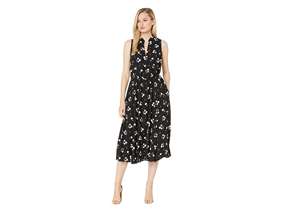 Anne Klein Tussy Mussy Printed CDC Drawstring Midi Dress (Anne Black/Anne White Combo) Women