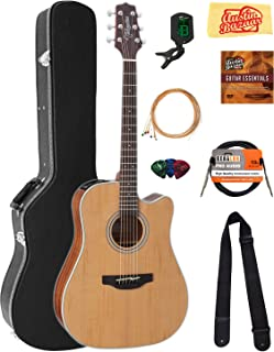 Takamine GD20CE Dreadnought Cutaway Acoustic-Electric Guitar - Natural Satin Bundle with Hard Case, Cable, Tuner, Strap, Strings, Picks, Austin Bazaar Instructional DVD, and Polishing Cloth