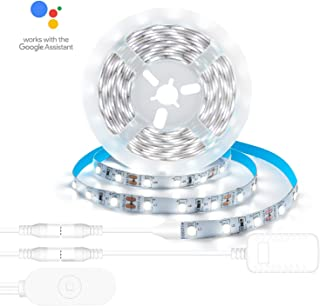 AEGOOL Vanity Mirror Light Kit Compatible Alexa, 16.4ft/5m Dimmable Smart LED Strip Lights 6000K Daylight White, Ultra Crisp Bright SMD2835 300Leds DC12V Voice Controlled Cabinet Lighting