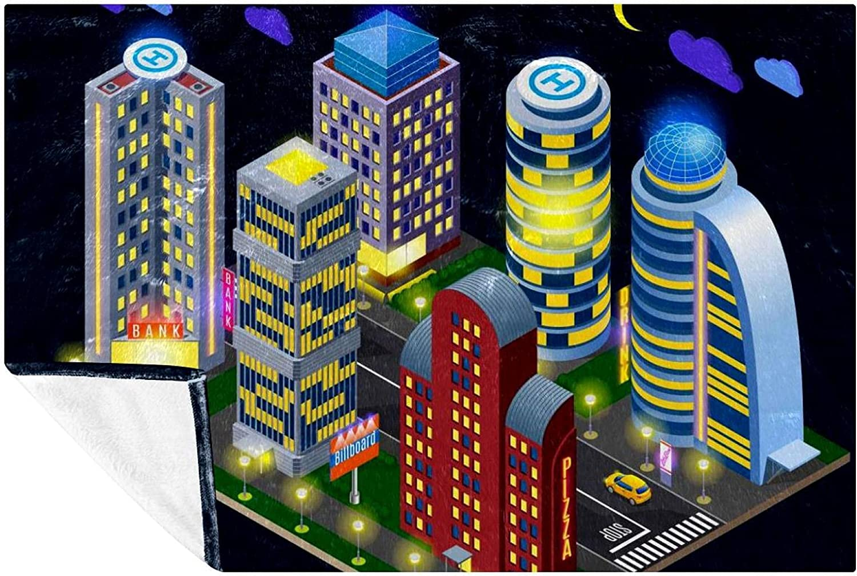AISSO Night City trend rank Buildings Prints Soft Throw f Under blast sales Blanket Cozy Warm
