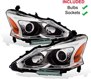 AmeriLite 2013-2015 Projector Chrome Housing Replacement Headlights Pair for Altima 4Dr Sedan Halogen Type - Driver and Passenger Side