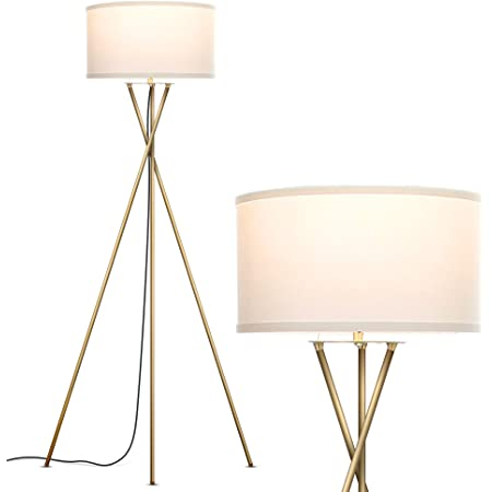 Amazon Brand Rivet Mid Century Modern Tripod Standing Floor Lamp With Drum Shade Bulb Included 58 25 H Antique Brass Electronics