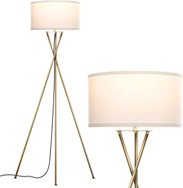 Brightech Jaxon - Mid Century Modern, Gold Tripod Floor Lamp for Living Room - Standing Light with Contemporary Drum Shade Ma