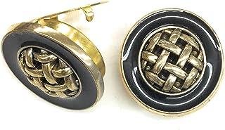 أزرار أزرار أكمام مطلي بالذهب الأسود إيبوكسي مركز الذهب نسج الذهب مشبك زر -1 زوج - بديل أزرار الأكمام للقمصان العادية