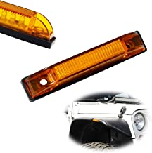 iJDMTOY Amber Lens 6-LED Fender Flare Side Marker Lamps For Jeep Wrangler, Compatible with Bushwacker Flat Style Fender Flares