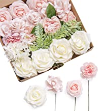 Ling's moment Elegant Blush Artificial Wedding Flowers Combo for DIY Bouquets Centerpieces Flower Arrangements Decorations (Elegant Blush)