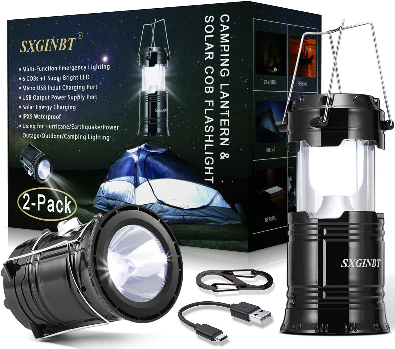 Opening large release sale COB Lantern Max 71% OFF Camping Solar Flas 2-Pack SXGINBT Lanterns