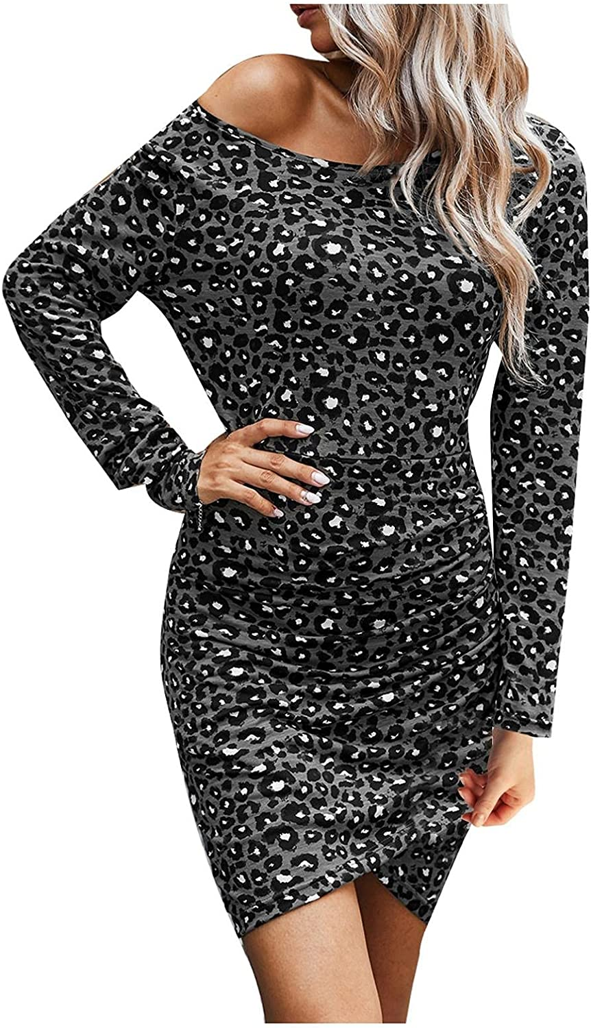 Kraoden Women's Sexy Leopard Dress One Shoulder Long Sleeves Knee-Length Ruched Bodycon Club Mini Cocktail Dress