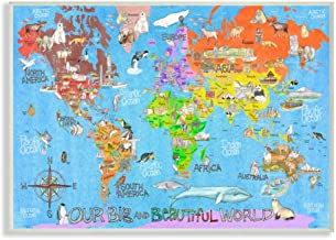 Stupell Home Décor Our Big Beautiful World Map Wall Plaque Art, 10 x 0.5 x 15, Proudly Made in USA