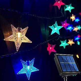 Outdoor Solar String Lights Waterproof, 55Ft 100 LED Solar Christmas Star Lights, 8-Mode Multicolor LED Star Solar Garden String Lights for Trees Patio Umbrella Fence Gazebo Balcony Summer Party