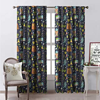 Hengshu Raccoon Window Curtain Fabric Summer Adventure Camping in Forest Fishing Tent Frog Paws Fireflies Teapot Pattern Drapes for Living Room W96 x L84 Multicolor