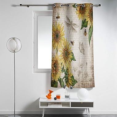 WARM TOUR Window Curtain Panel Retro Sunflowers with Bee Farm Animals Printing Decor Samll Windows Drapes for Bedroom Kitchen