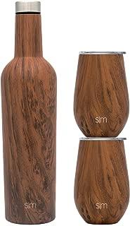 Simple Modern Spirit Wine Bundle - 2 12oz Wine Tumbler Glasses with Lids & 1 Wine Bottle - Vacuum Insulated 18/8 Stainless Steel Pattern: Wood Grain