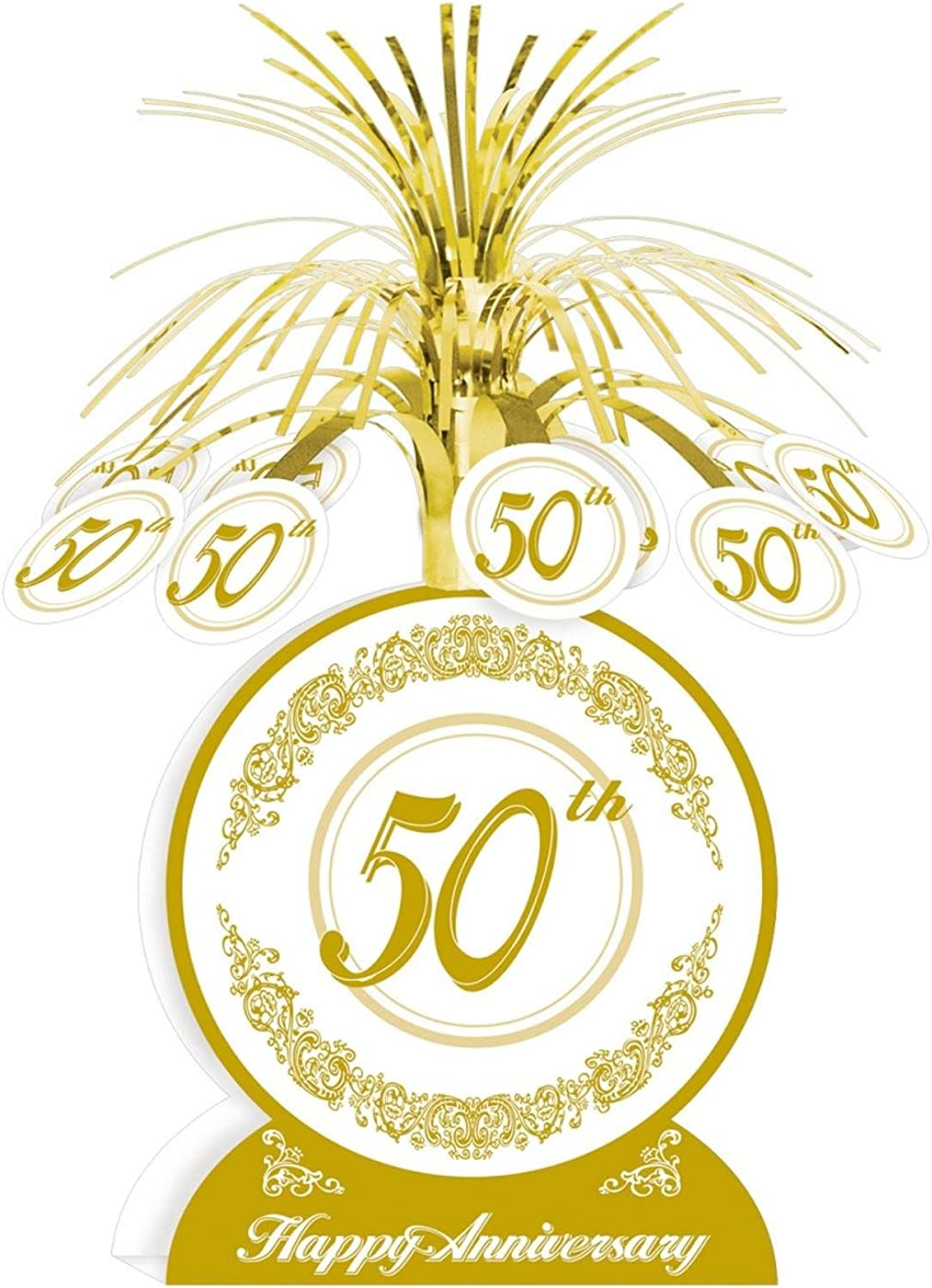 Club Pack of 12 gold and White 50th Happy Anniversary Table Centerpiece Decorations 13