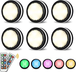 LED Closet Lights Elfeland Wireless Color Changing RGB Puck Light 6 Pack with 2 Remote Controls Dimmable Under Cabinet Lig...