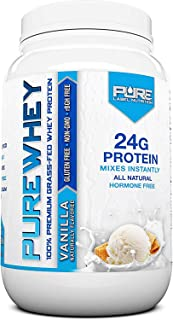 Pure Label Nutrition 100% USA Grass-Fed Whey Protein Concentrate, 2lb Vanilla, Non-GMO, rBGH Free, Soy Free, Gluten Free, ...
