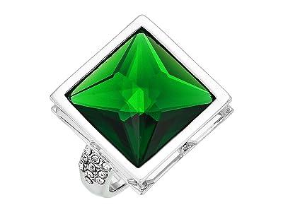 Vince Camuto Pyramid Ring (Rhodium/Crystal/Dark Moss Green) Ring