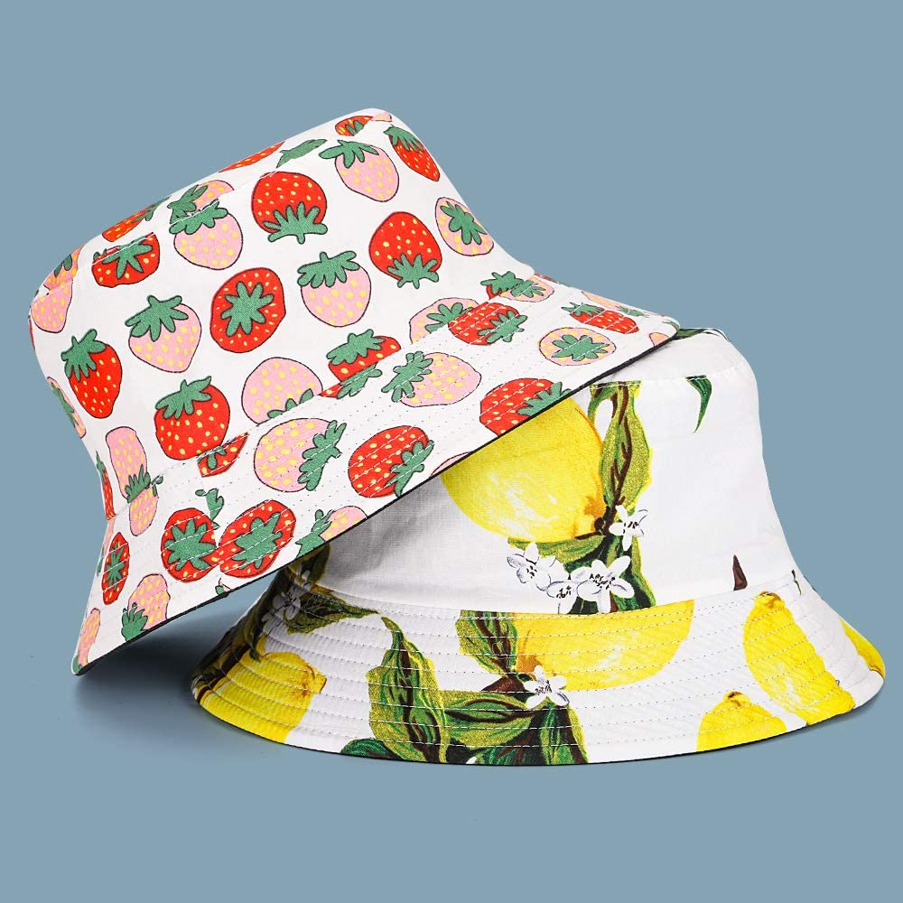 MNXA Cute Print Bucket Hat,Reversible Packable Fisherman-Cap,Outdoor Sun Hatfor Men Women Many Patterns