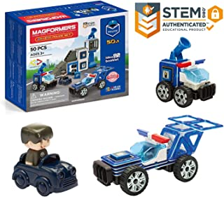 MAGFORMERS Amazing Police 50Piece, Wheels, Blue Red Colors, Educational Magnetic Geometric Shapes Tiles Building STEM Toy ...