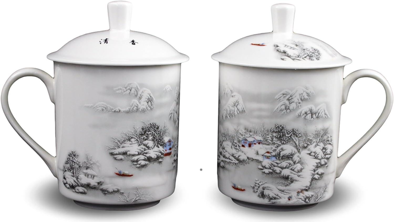 2 Bone China 14-ounce Tea Cups Mug Snow Lid Louisville-Jefferson County Mall Coffee With Scene Max 67% OFF