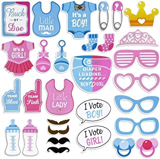 30 PCS Gender Reveal Party Boy or Girl Photo Booth Props DIY Kit On A Stick