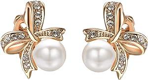 Yoursfs grande perle orecchini con 18K placcato oro bianco elegante fiori di San Valentino giorni regalo per donna donna ragazza