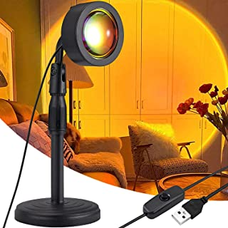 Sunset Projector Lamp ,180 Degree Rotation LED Projection Light Lamp USB Charging Height Adjustable Floor Stand Night Ligh...