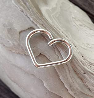 14K Solid White GoldHeart Daith piercing ring,cartilage,helix,tragus,ear hoop earring