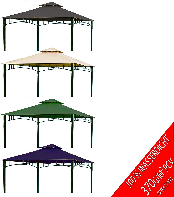 Freigarten  Ersatzdach für Pavillon 3x3 Meter Sand Antik Pavillon Wasserdicht Material  Panama PCV Soft 370g m2 extra stark Modell 6 (Beige)