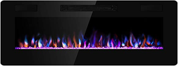 Xbeauty 50 inch Wall Mounted Recessed Electric Fireplace Insert, Ultra-Thin Lightweight LED Fireplace Heater, Flush Mount Linear Fireplace, Fit 2x4&2x6 Stud w/Touch Screen,Remote Control,1500W,Black