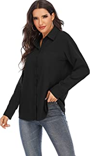 Sponsored Ad - MANAIXUAN Womens Casual Loose Roll-up Sleeve Blouse Pocket Button Shirt