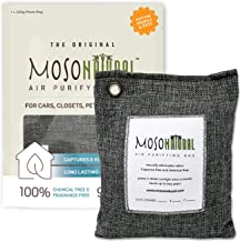 MOSO NATURAL: The Original Air Purifying Bag. for Cars, Closets, Bathrooms, Pet Areas. Fragrance Free, Chemical Free, Long Lasting, Moisture Absorbing Odor Eliminator. 200g Charcoal Color Bag