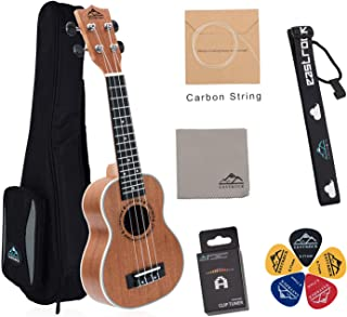 EastRock Soprano Concert Ukulele 21 23 inch Ukalalee Small Hawaiian Guitar Ukeleles Set for Kids Beginners&Adults with Bag Tuner Strap Cleaning Cloth Ukulele Picks Carbon Strings (Soprano, Sapele)