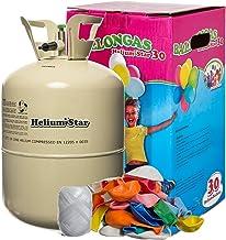HeliumStar® Helium Einwegflasche mit Ballongas inkl. 30 bunte Latexballons (Ø 25cm) + weißes Polyband! 250 Liter Helium für Luftballons in Heliumflasche - Ballongas reicht für alle 30 Ballons