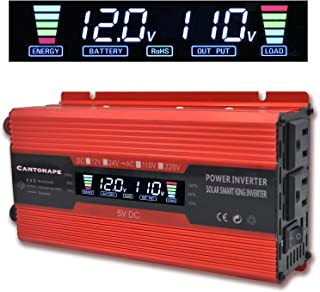 Cantonape 700W/1500W(Peak) Car Power Inverter DC 12V to 110V AC Converter with LCD Display Dual AC Outlets Comapct Size and 2A USB Car Charger for Car Home Laptop